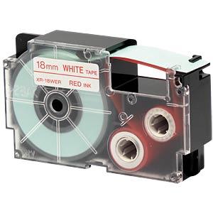 Schriftband, 18 mm x 8 m, rot/ weiß CASIO XR-18WER1