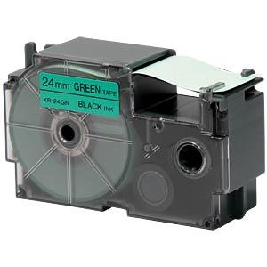Schriftband, 24 mm x 8 m, schwarz/ grün CASIO XR-24GN1