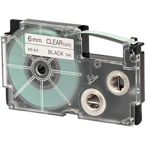Schriftband, 6 mm x 8 m, schwarz/ transparent CASIO XR-6X1