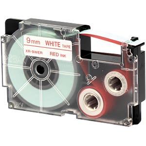 rot auf weiß, 9 mm Breite CASIO XR-9WER1