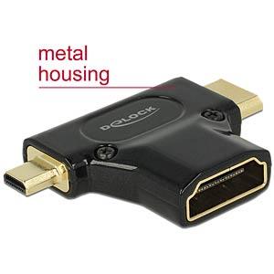 Adapter, HDMI A Buchse auf HDMI C + HDMI D Stecker DELOCK 65666