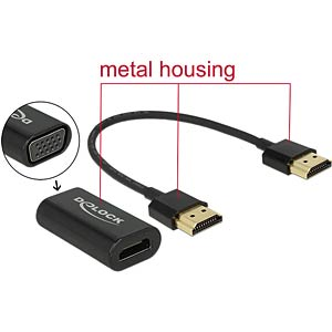 Adapter HDMI-A Buchse > VGA Buchse (screwless) + 15 cm HDMI Kabe DELOCK 65667
