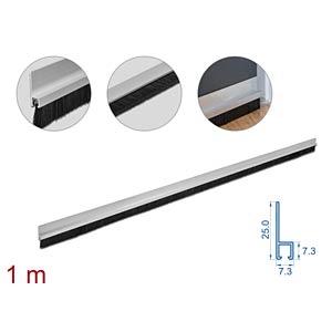 DELOCK 66649 - Bürstenstreifen 20 mm mit Alu-Profil gerade - Länge 1 m