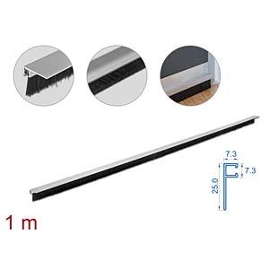 DELOCK 66650 - Bürstenstreifen 20 mm mit Alu-Profil gewinkelt - Länge 1 m