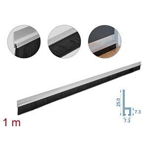 DELOCK 66651 - Bürstenstreifen 40 mm mit Alu-Profil gerade - Länge 1 m