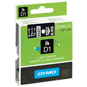 DYMO D1 tape, 12 mm, white/black DYMO S0720610