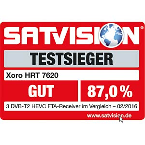 Full-HD HEVC DVB-T/T2 receiver (PVR compatible) XORO SAT100486