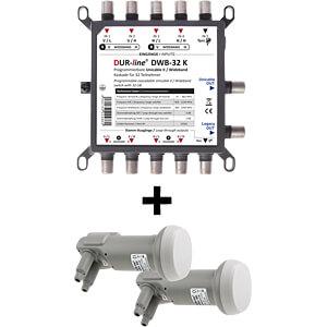 Multischalter Unicable II & 2x Wideband-LNB DUR-LINE 13244