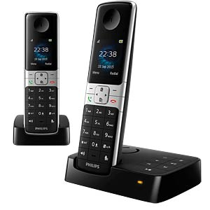 Cordless phone with answering machine, black PHILIPS D6352B/38