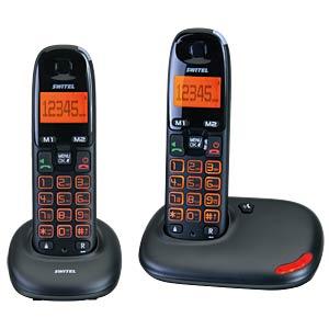 DECT Telefon, 2 Mobilteil mit Ladeschale, schwarz SWITEL DC5002 VITA