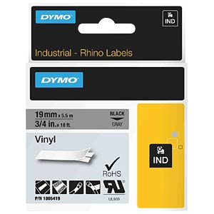 DYMO IND tape, vinyl, 19 mm, black/grey DYMO 1805419