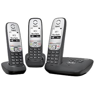 DECT telephone, 3 handsets, AB, black GIGASET COMMUNICATIONS L36852-H2525-B111