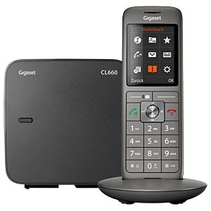 DECT Telefon, 1 Mobilteil mit Ladeschale, schwarz GIGASET COMMUNICATIONS S30852-H2804-B101