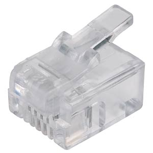 RJ11 modular plug for round cables, 6/4 FREI