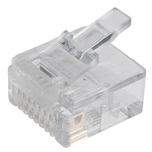 RJ45 modular plug for round cables, 8/8, short FREI