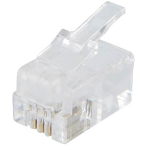 RJ10 modular plug, contacts 4, fitted 4 FREI
