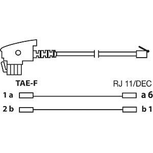 TAE F plug to 6p2c plug, 15 m, black FREI