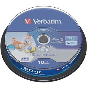 BD-R, 25GB, bedruckbar, 10er Spindel VERBATIM 43804