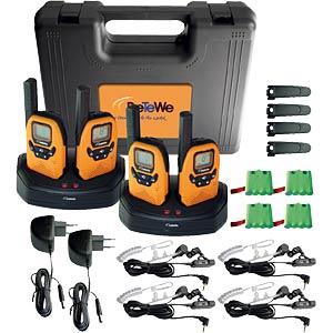 PMR Funkgerät, 4-er Set, IPX2, orange/schwarz DETEWE OUTDOOR 8000
