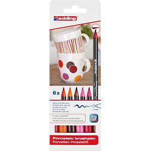Porzellan Pinselstift 6er Set  Farbkombination warm EDDING 4-4200-6999