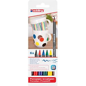 Porcelain pen brush, set of 6, colour combination family EDDING 4-4200-6