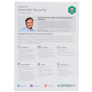 Kaspersky Internet Security - MAC 2016 KASPERSKY KL1228GBAFS