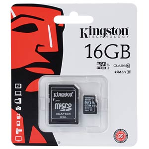 MicroSDHC-Card 16GB, Kingston Class 10 KINGSTON SDC10G2/16GB