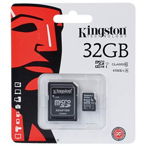 MicroSDHC-Speicherkarte 32GB, Kingston Class 10 KINGSTON SDC10G2/32GB