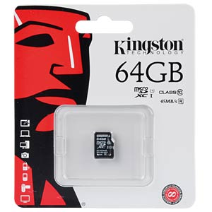 MicroSDHC-Card 64GB, Kingston Class 10 KINGSTON SDC10G2/64GBSP