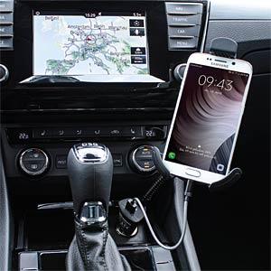 Autolader 2.4A met smartphonehouder ANSMANN 1000-0011