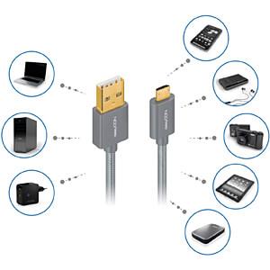 Daten-/ Ladekabel USB A-Stecker > Micro-B Stecker grau 1 m DELEYCON MK-MK2329