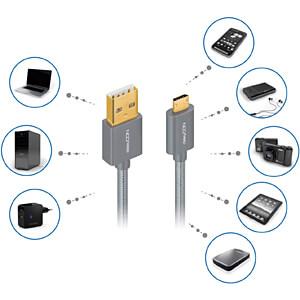 Daten-/ Ladekabel 2er Set USB A-Stecker > Micro-B Stecker grau 1 DELEYCON MK-MK2331
