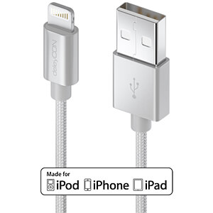 Daten-/ Ladekabel  USB A-Stecker > Lightning silber 0,5 m DELEYCON MK-MK2355