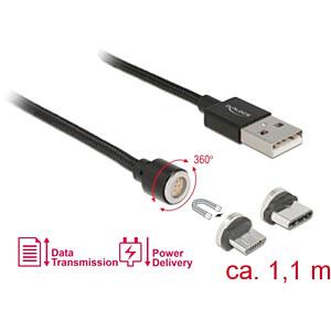 USB Lade- und Datenkabel magnetisch 2in1 Micro-B / Type-C 1,10 m DELOCK 85723
