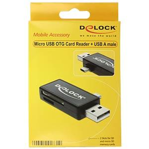 OTG Card Reader, SD & micro-SD DELOCK 91731