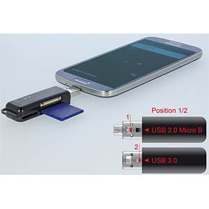 Card Reader OTG USB 3.0 > 3 Slots DELOCK 91737