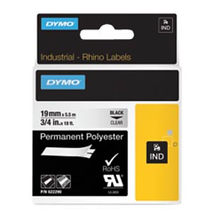 DYMO IND polyester, 19 mm, black/transparent DYMO 622290