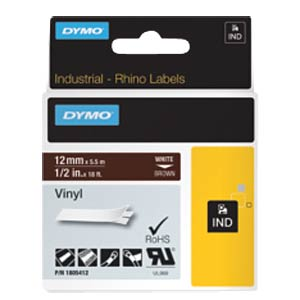 DYMO IND tape, vinyl, 12 mm, white/brown DYMO 1805412