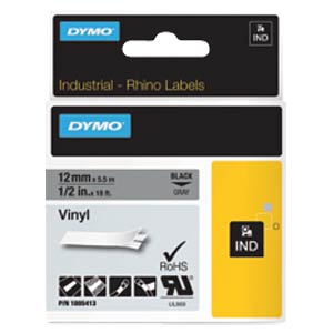 DYMO IND tape, vinyl, 12 mm, black/grey DYMO 1805413