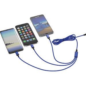 Ladekabel, USB -> micro USB, Lightning & USB Type C, blau SMRTER SMRTER_HYDRA_PRO_NB