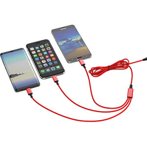 Ladekabel, USB -> micro USB, Lightning & USB Type C, rot SMRTER SMRTER_HYDRA_PRO_RD