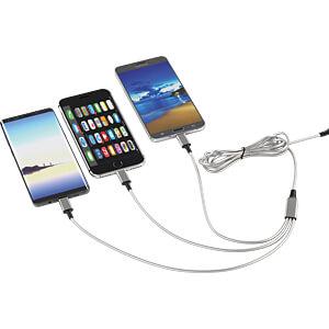 Ladekabel, USB -> micro USB, Lightning & USB Type C, silber SMRTER SMRTER_HYDRA_PRO_SR