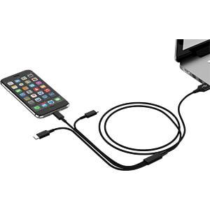 Ladekabel, USB -> micro USB, Lightning & USB Type C, schwarz SMRTER SMRTER_HYDRA_PRO_BK