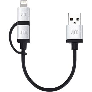 Lightning-naar-micro-USB/USB-kabel, 0,1 m JUST MOBILE DC-159