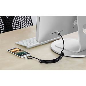Lightning-naar-micro-USB/USB-spiraalkabel, 1,8 m JUST MOBILE DC-189