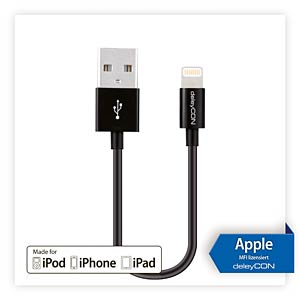 deleyCON Lightning to USB cable - black, 0,15m DELEYCON MK-MK401