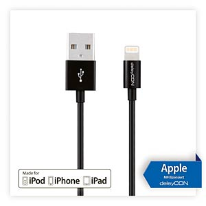 deleyCON Lightning to USB cable - black, 1,00 m DELEYCON MK-MK403