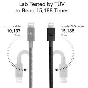 USB Daten- und Ladekabel, A Stecker auf Lightning, 1,2 m NONDA LC22BKRN