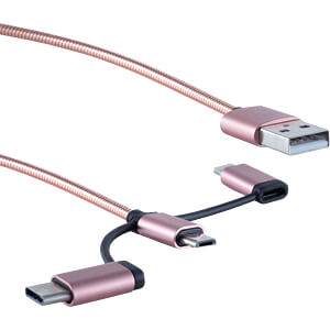 3in1 Ladekabel MicroB/ TypC/ Lightning rosegold 1m SHIVERPEAKS BS14-50074