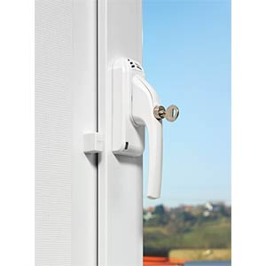 Window handle with alarm, DIN, right, white ABUS SECURITY TECH ABFG68022